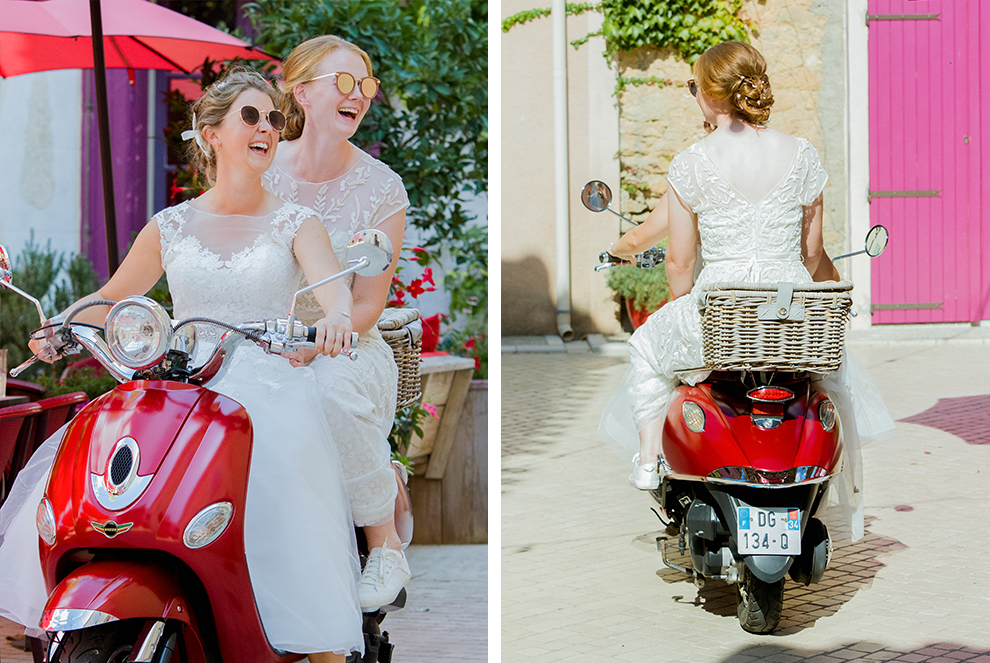 Wedding photographer in South of france - mariage vespa rouge